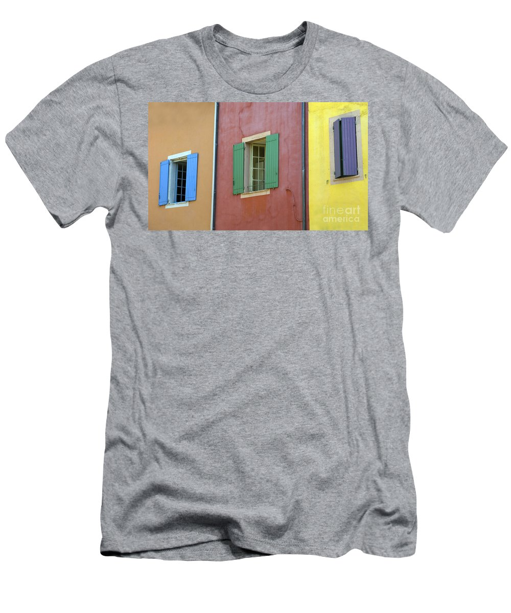 Window Men's T-Shirt (Athletic Fit) featuring the photograph Multicolored Walls, France by John Shaw