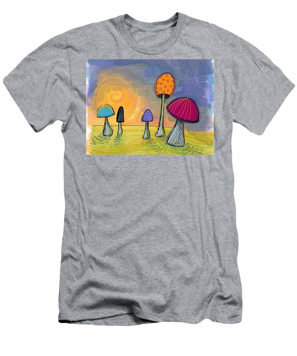 Mushrooms T-Shirt featuring the digital art Mushrooms by Kate Fortin
