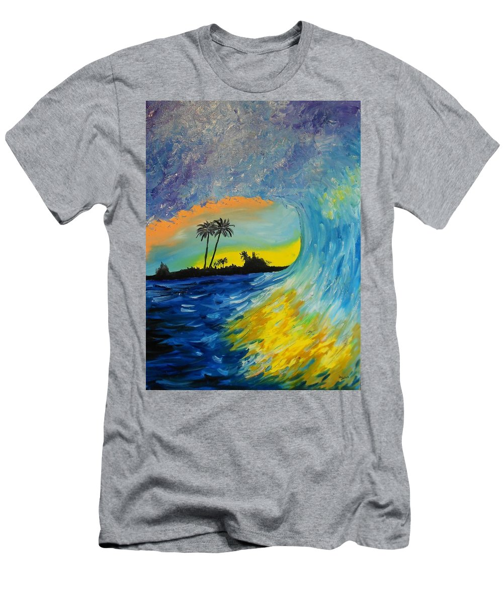 Wave Men's T-Shirt (Athletic Fit) featuring the painting My Wave by Daniel Jakus
