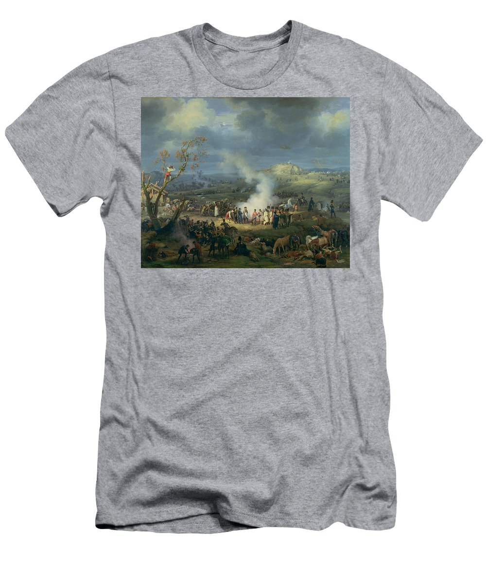 Camp Men's T-Shirt (Athletic Fit) featuring the photograph Napoleon 1769-1821 Visiting A Bivouac On The Eve Of The Battle Of Austerlitz, 1st December 1805 by Louis Lejeune