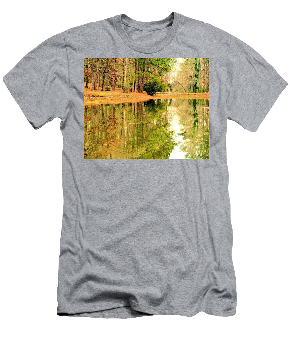 Nature's Green And Gold Men's T-Shirt (Athletic Fit) featuring the photograph Nature's Green And Gold by Maria Urso