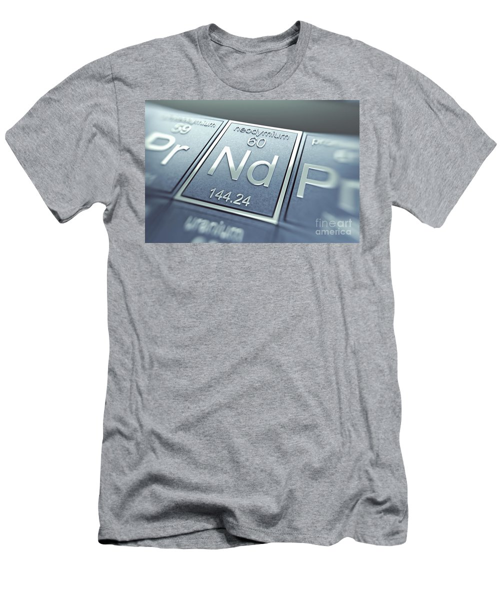 Atomic Number Men's T-Shirt (Athletic Fit) featuring the photograph Neodymium Chemical Element by Science Picture Co