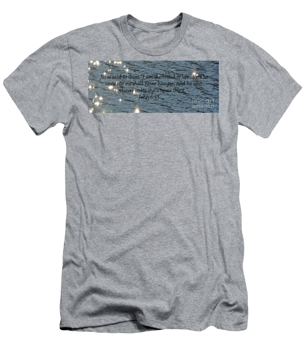Water Men's T-Shirt (Athletic Fit) featuring the photograph Never Thirst  John 6 35 by Barb Dalton