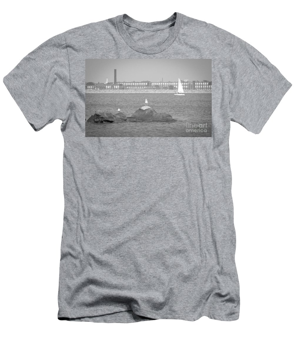 Hazelwood Men's T-Shirt (Athletic Fit) featuring the photograph New Bedford Massachusetts Black White by Andrea Anderegg