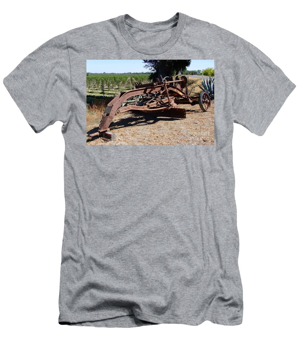 Mary Deal Men's T-Shirt (Athletic Fit) featuring the photograph New Crop Antiquated Grader by Mary Deal