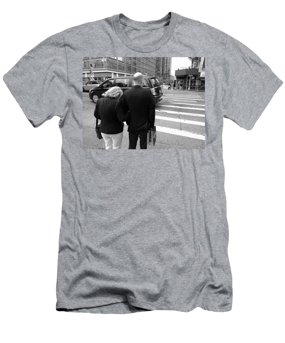 Architecture Men's T-Shirt (Athletic Fit) featuring the photograph New York Street Photography 13 by Frank Romeo