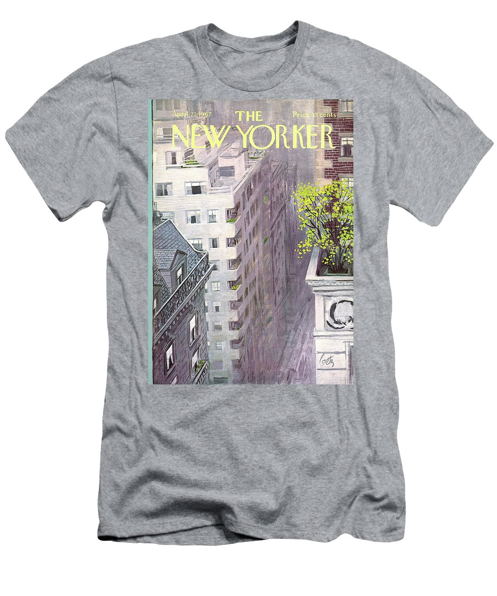 Arthur Getz Agt Men's T-Shirt (Athletic Fit) featuring the painting New Yorker April 22nd, 1967 by Arthur Getz