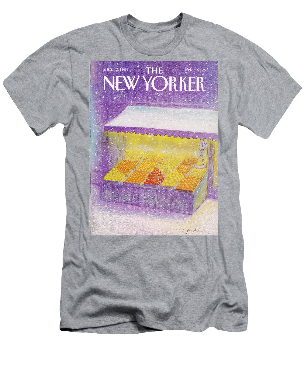 Season Men's T-Shirt (Athletic Fit) featuring the painting New Yorker January 12th, 1981 by Eugene Mihaesco
