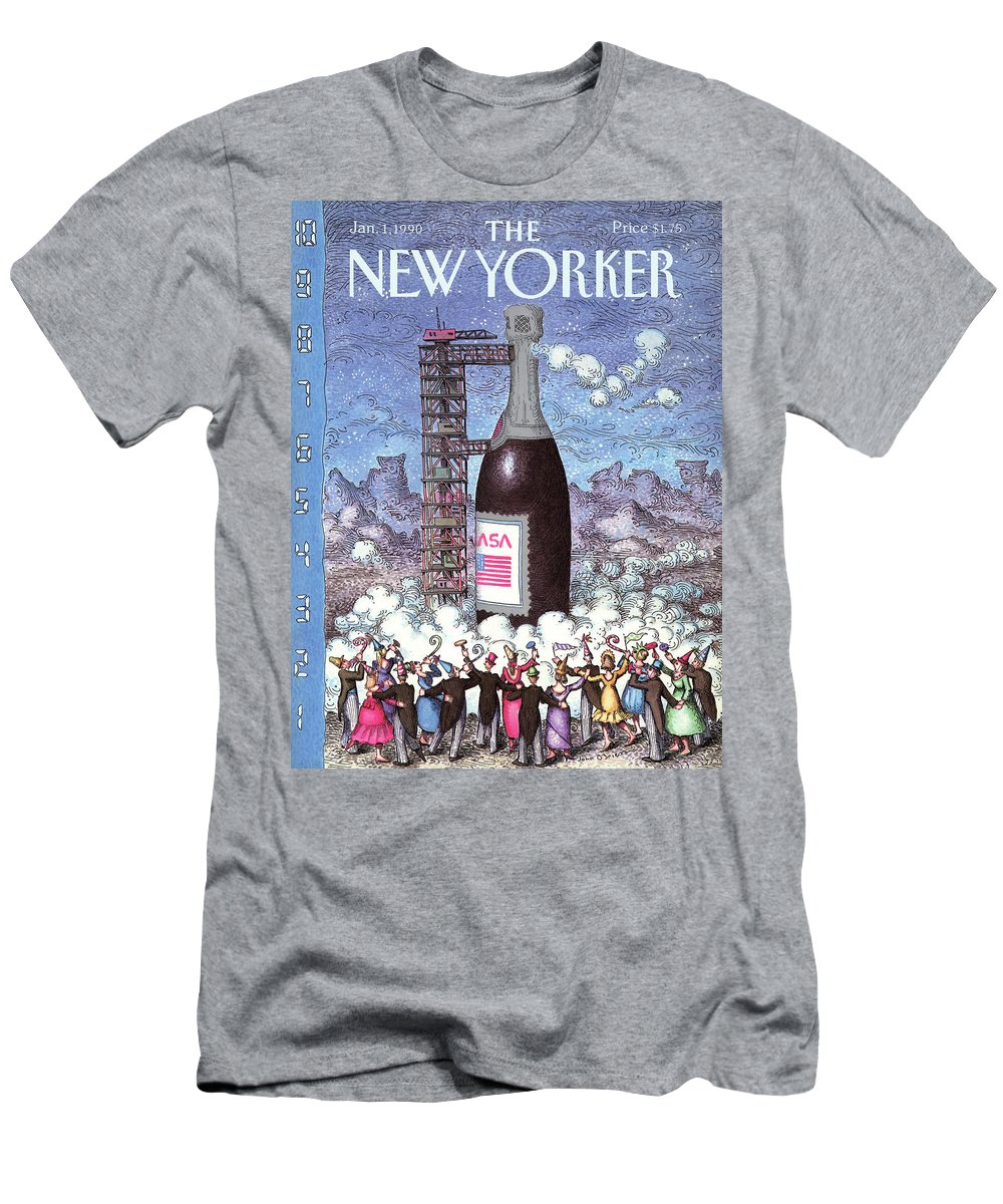 (a New Year's Crowd Of Partygoers Celebrate The Countdown In Front Of A Nasa Champagne Bottle That Is About To Take Off From A Launch Pad.) Holidays Men's T-Shirt (Athletic Fit) featuring the painting New Yorker January 1st, 1990 by John O'Brien