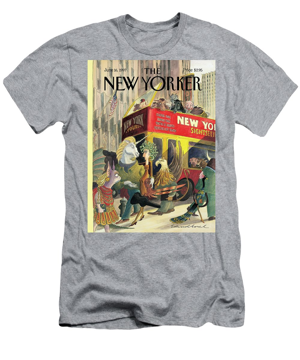 Walkers And Gawkers Artkey 50905 Eso Edward Sorel Men's T-Shirt (Athletic Fit) featuring the painting New Yorker June 16th, 1997 by Edward Sorel