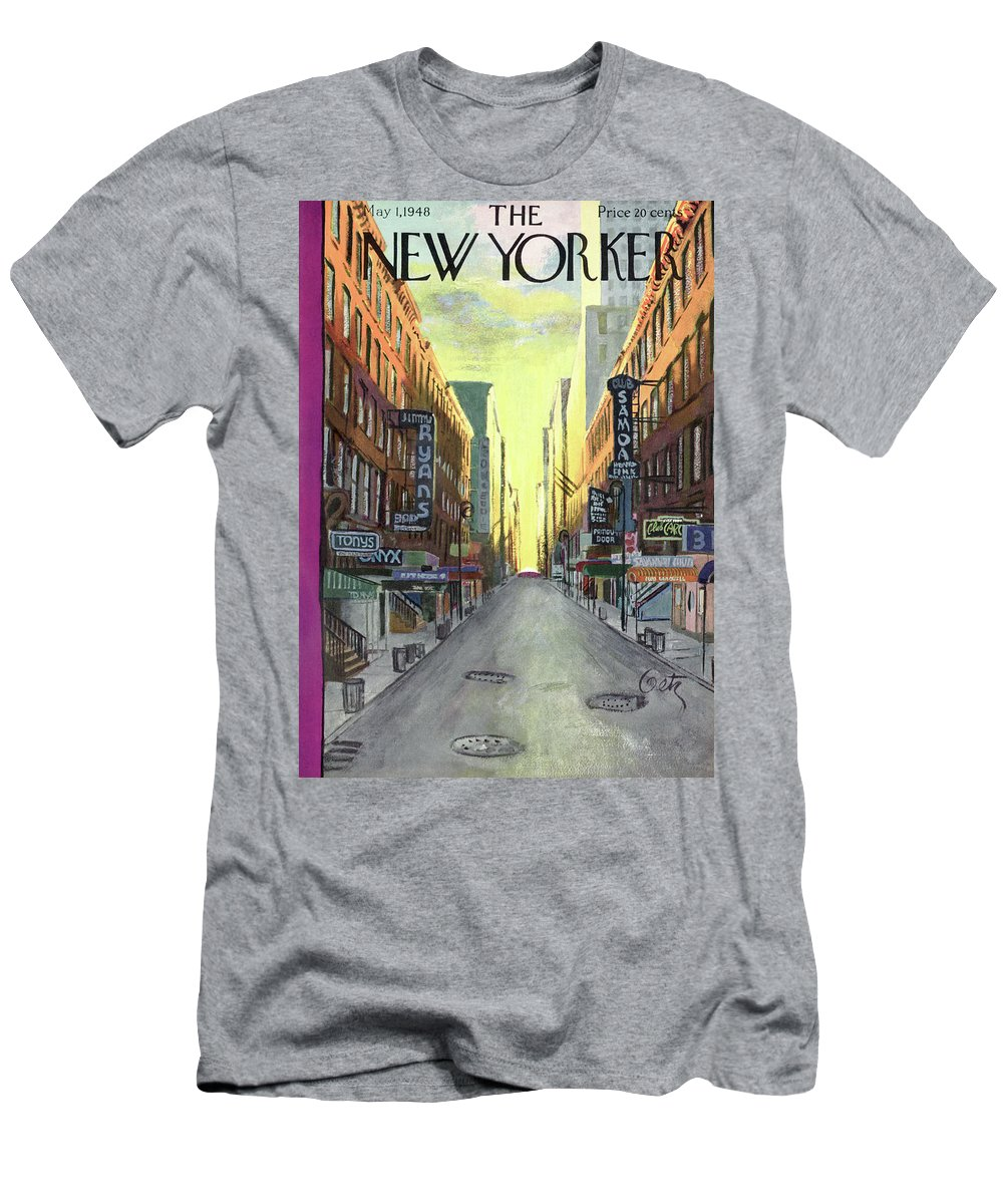 Urban Men's T-Shirt (Athletic Fit) featuring the painting New Yorker May 1st, 1948 by Arthur Getz