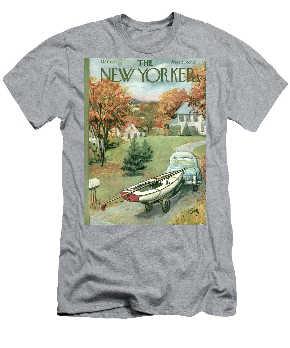 Arthur Getz Agt T-Shirt featuring the painting New Yorker October 11th, 1958 by Arthur Getz