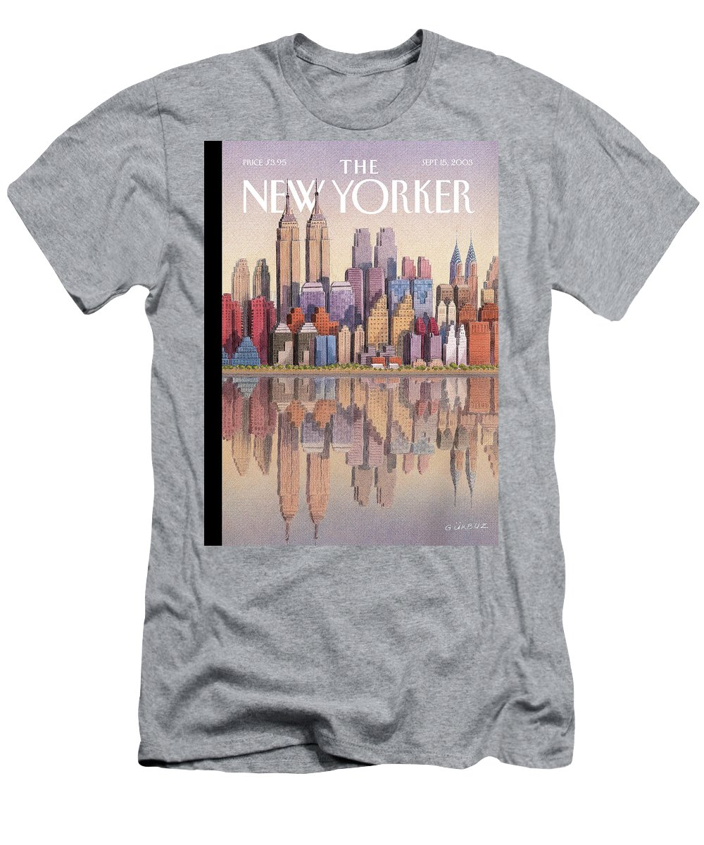 Twin Towers New York City Regional Empire State Building World Trade Center Twintowers Wtc Gek Gurbuz Dogan Eksioglu   Men's T-Shirt (Athletic Fit) featuring the painting New Yorker September 15th, 2003 by Gurbuz Dogan Eksioglu