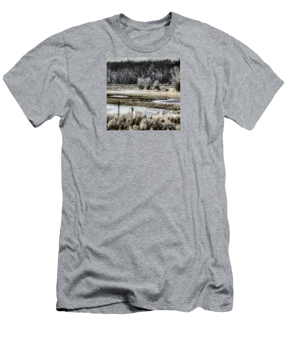 Nisqually Men's T-Shirt (Athletic Fit) featuring the photograph Nisqually Nest Boxes by Jean OKeeffe Macro Abundance Art