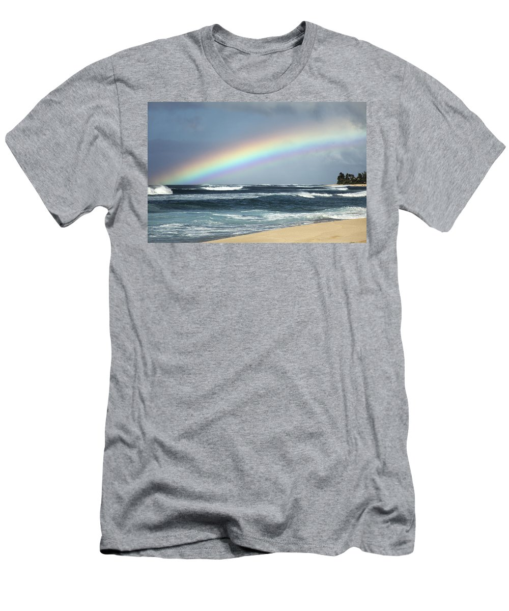 Above Men's T-Shirt (Athletic Fit) featuring the photograph North Shore Oahu Rainbow by Vince Cavataio - Printscapes