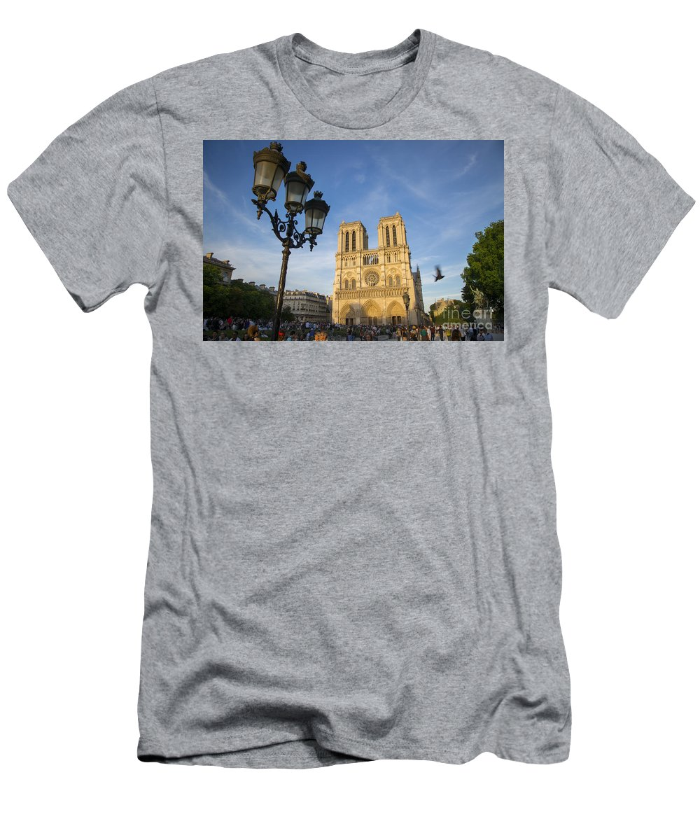 Cathedral Men's T-Shirt (Athletic Fit) featuring the photograph Notre Dame Tourists by Brian Jannsen