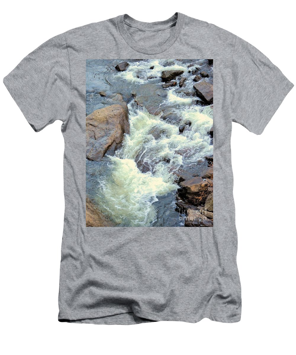 November's Streaming Waters Men's T-Shirt (Athletic Fit) featuring the photograph November's Streaming Waters by Maria Urso