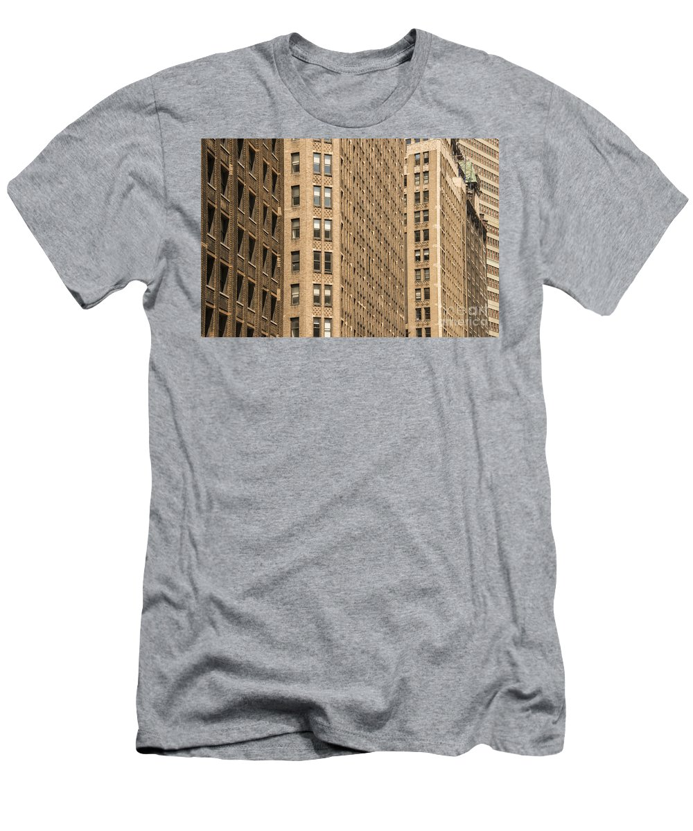 Apartment Building Apartments Buildings Window Windows Structure Structures Architecture New York City Cities Cityscape Cityscapes Men's T-Shirt (Athletic Fit) featuring the photograph Nyc Brown Tones by Bob Phillips