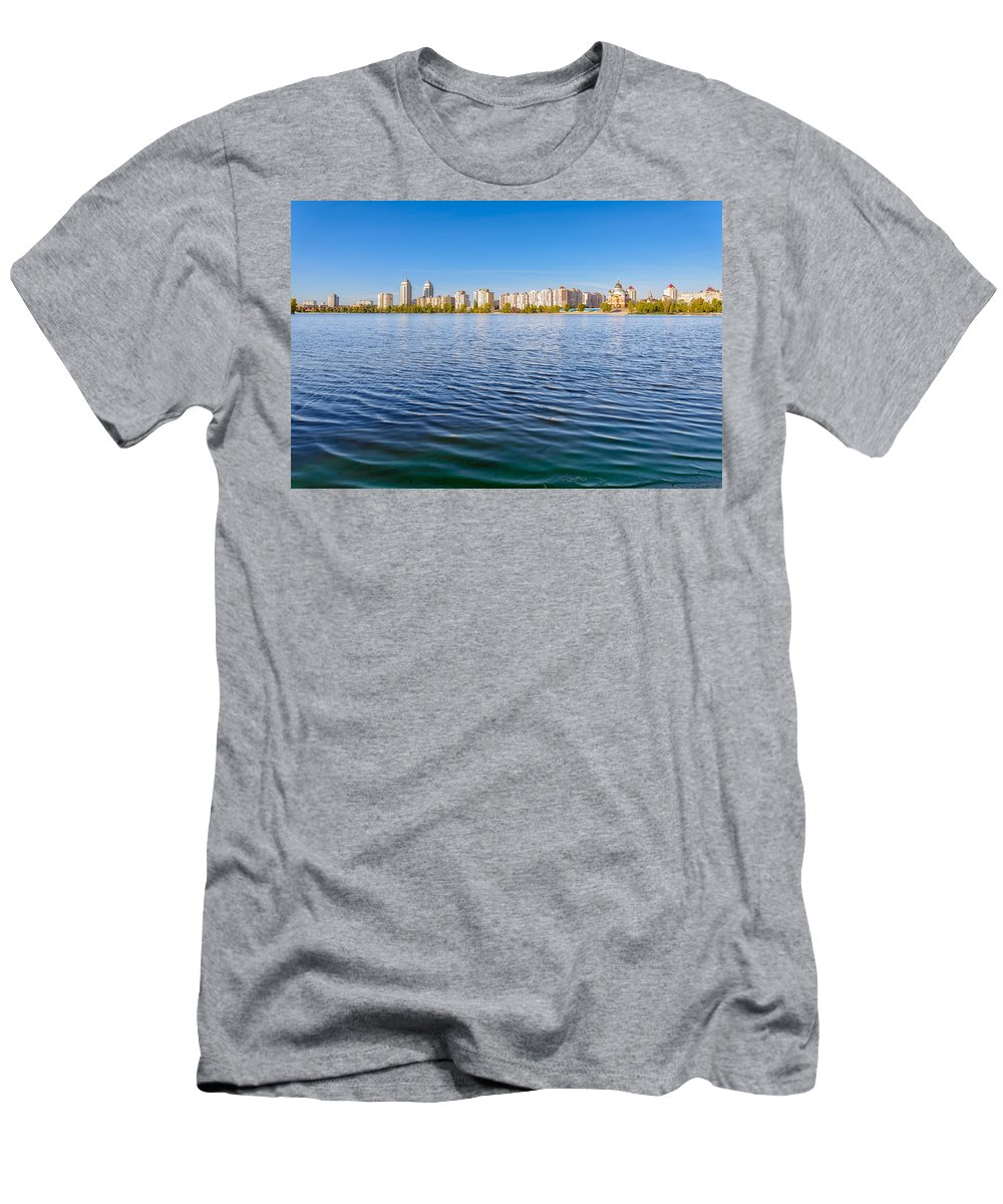 Dnieper Men's T-Shirt (Athletic Fit) featuring the photograph Obolon Skyline Close To The Dnieper River In Kiev by Alain De Maximy