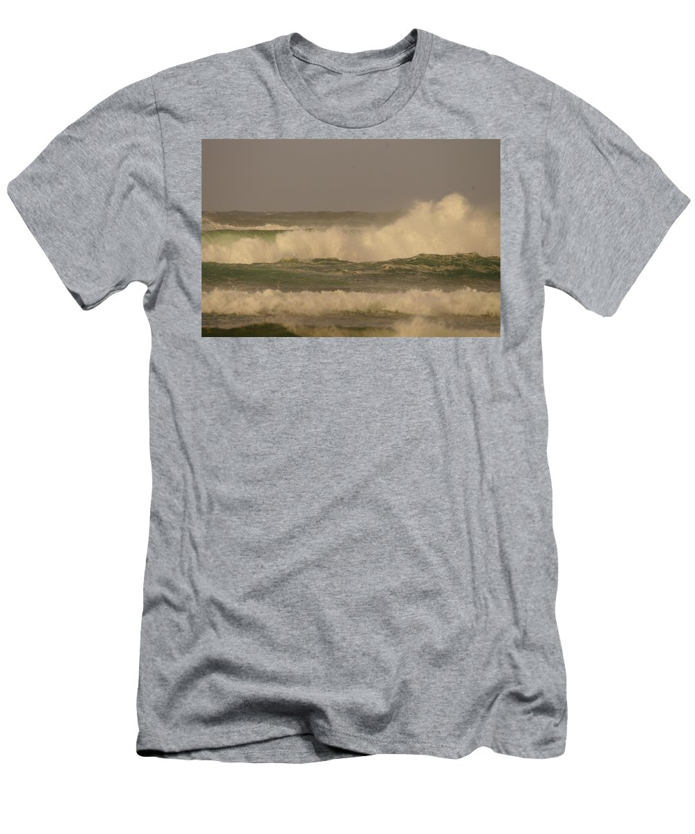 Long Beach Men's T-Shirt (Athletic Fit) featuring the photograph Ocean Waves by Jeff Swan