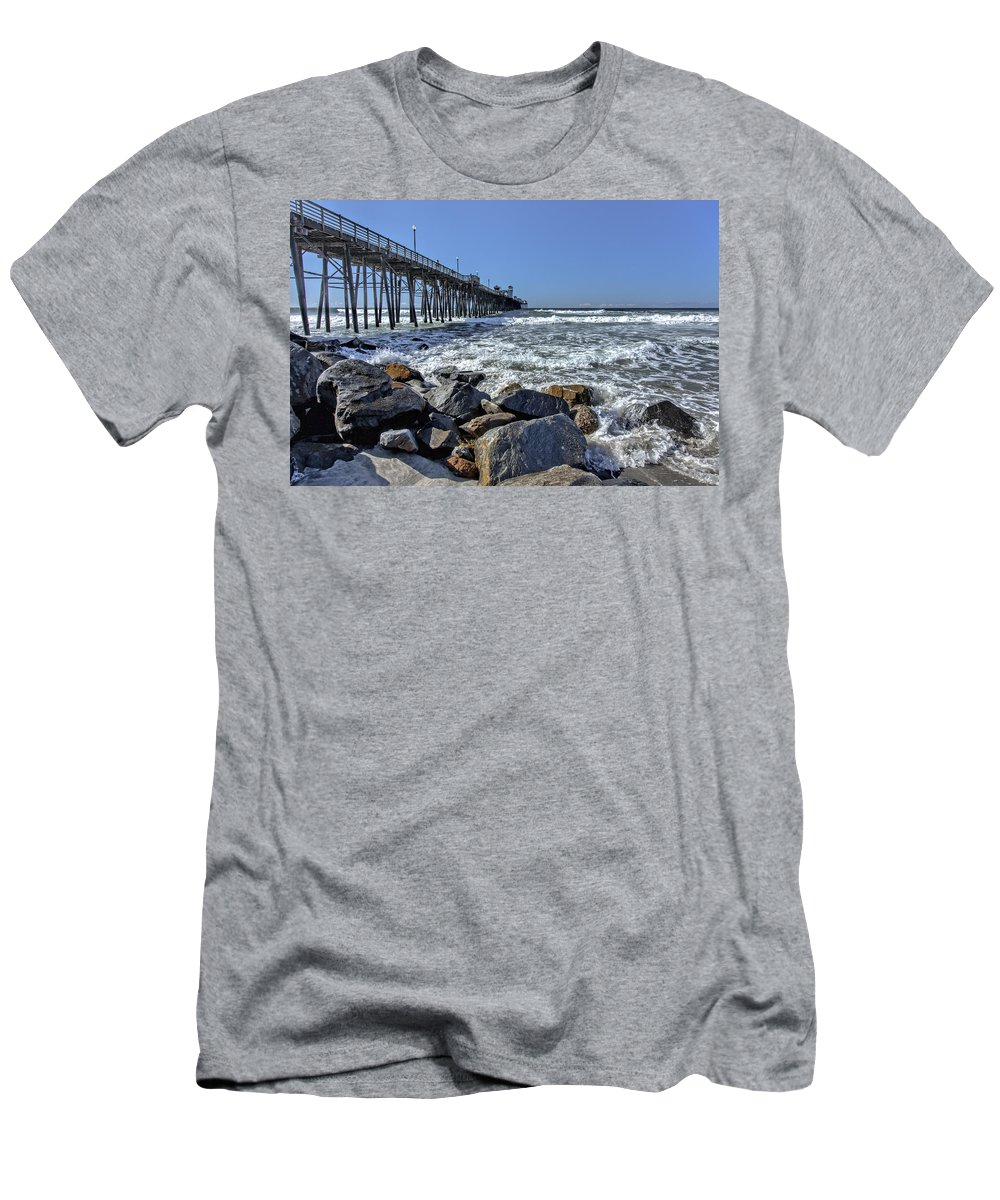 Oceanside Pier Men's T-Shirt (Athletic Fit) featuring the photograph Oceanside Rocks by Diana Powell