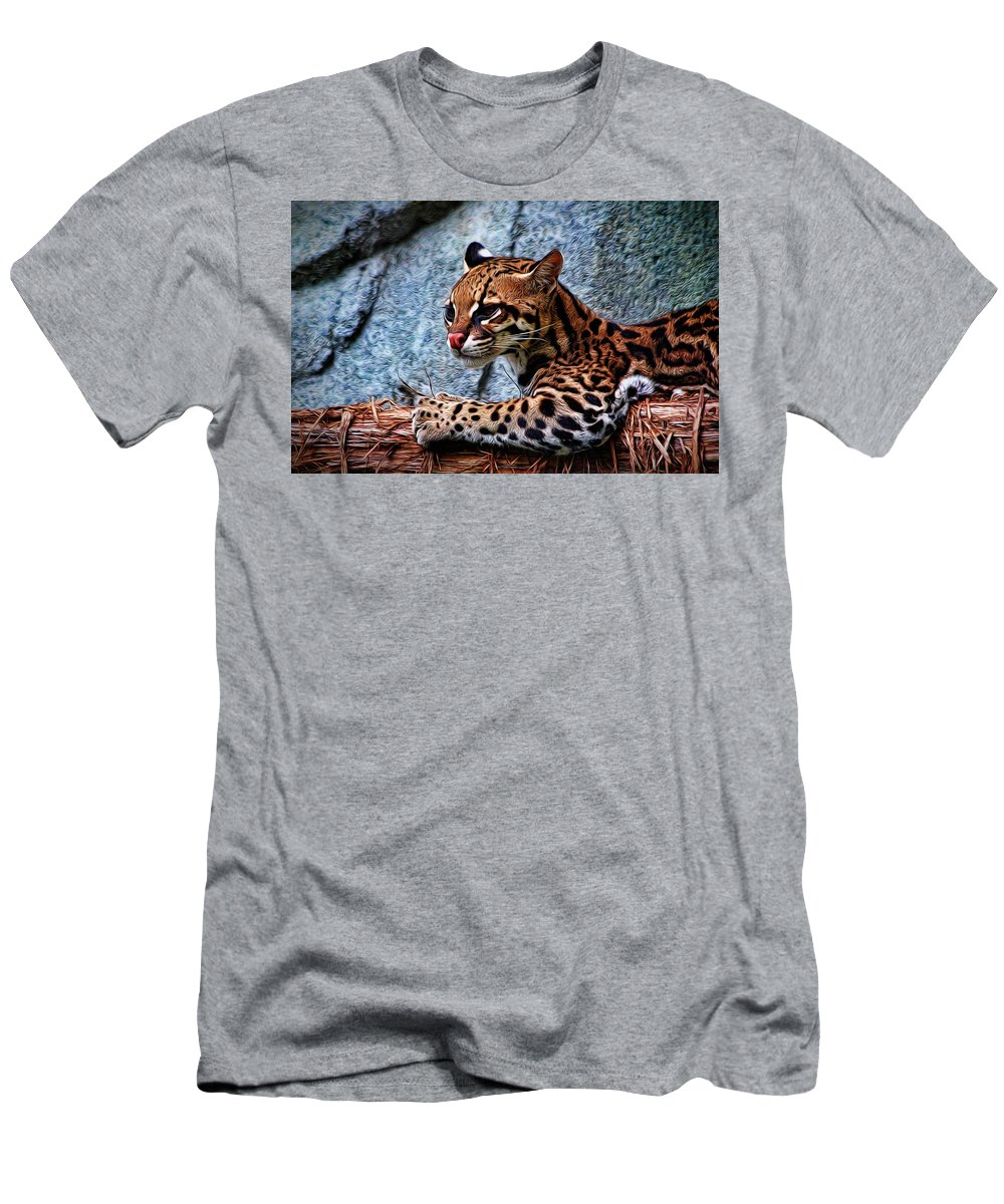 Ocelot Men's T-Shirt (Athletic Fit) featuring the photograph Ocelot Painted by Judy Vincent