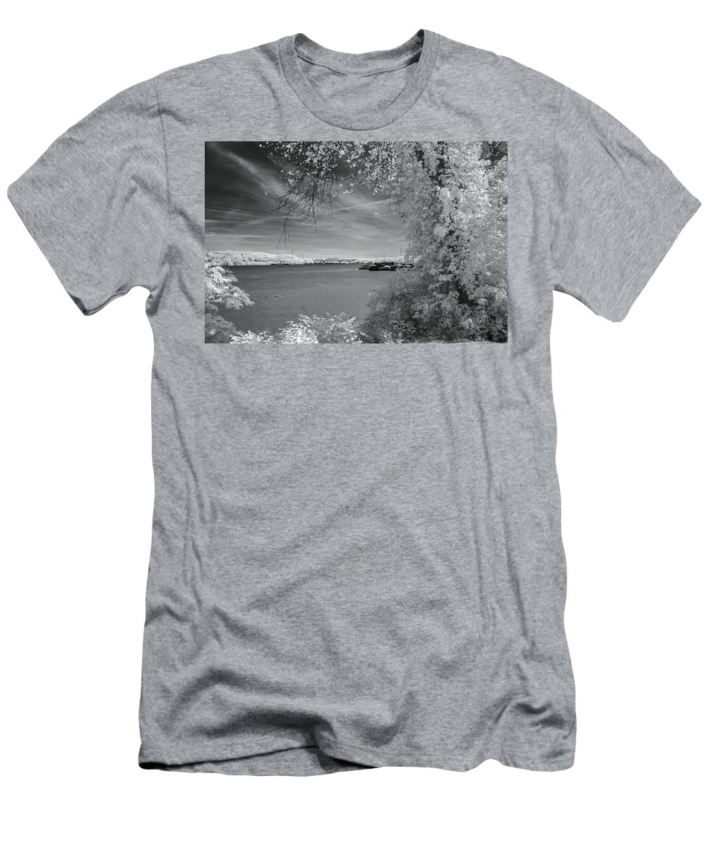 Barge Men's T-Shirt (Athletic Fit) featuring the photograph Ohio River by Mary Almond