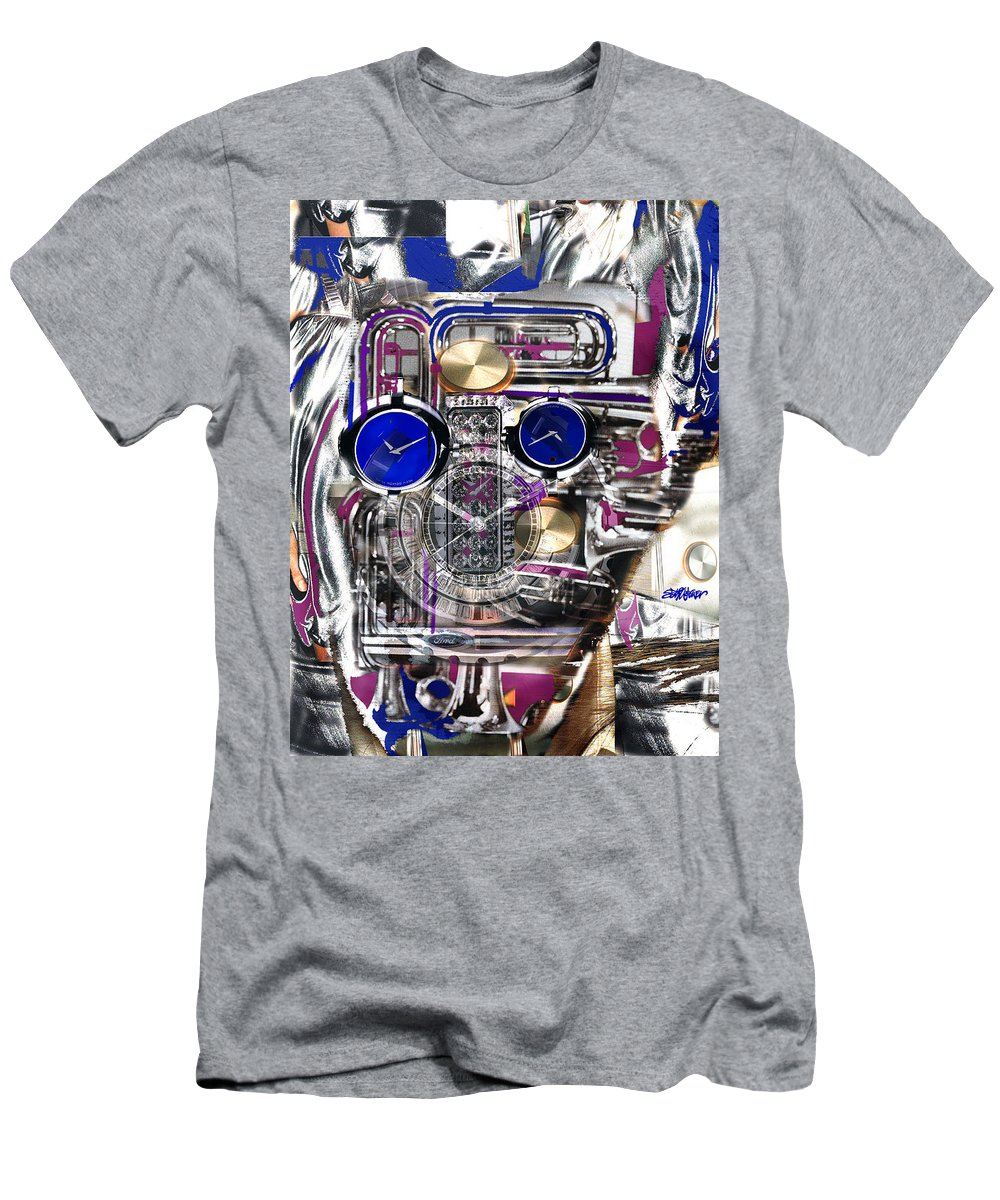 Robotic Time Traveller Men's T-Shirt (Athletic Fit) featuring the digital art Old Blue Eyes by Seth Weaver