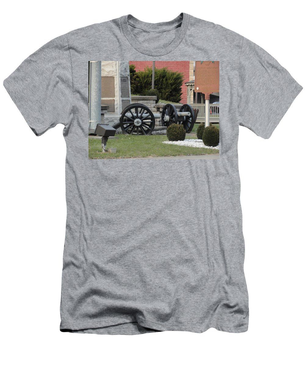 Men's T-Shirt (Athletic Fit) featuring the photograph Old Canons In Time Square by Stephanie Irvin