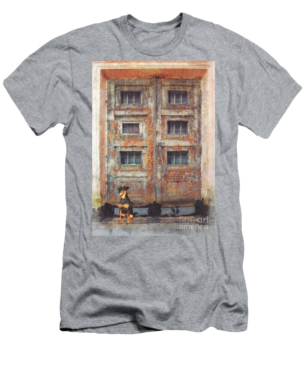 Old Door Aged Cracked Abandoned Men's T-Shirt (Athletic Fit) featuring the digital art Old Door - Aged - Cracked - Abandoned by Liane Wright