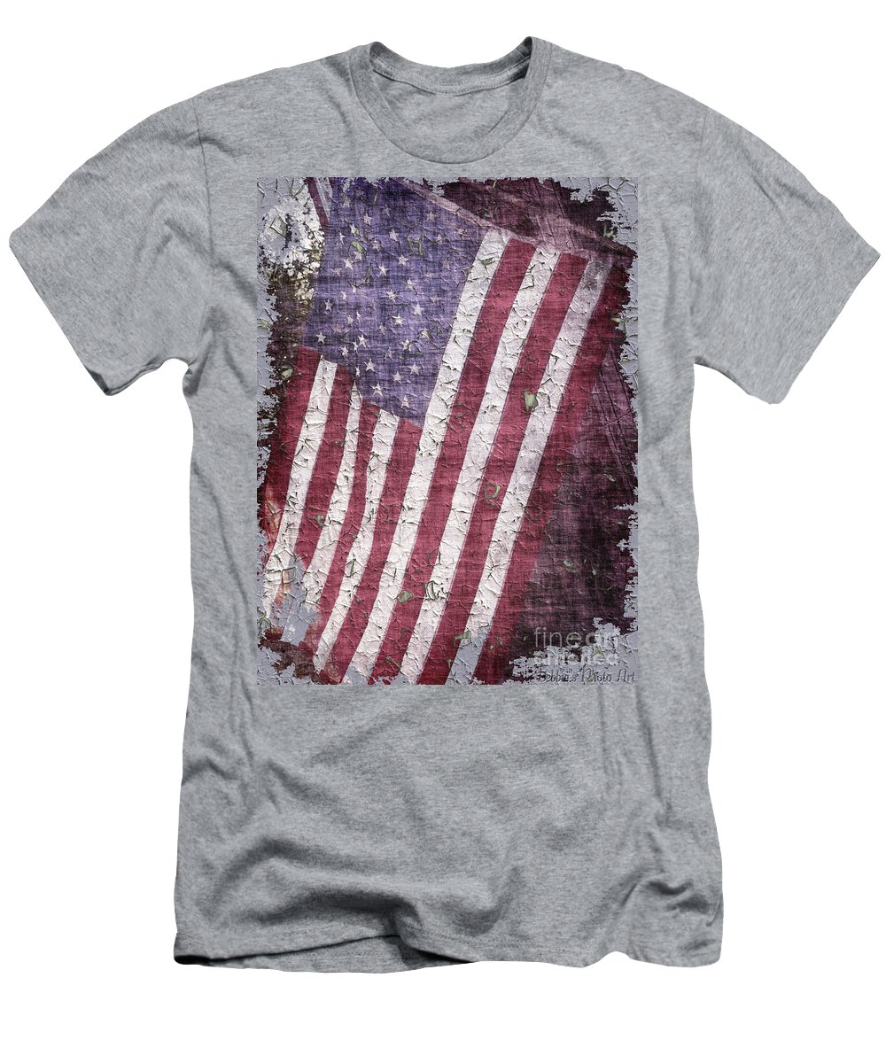 Flag Men's T-Shirt (Athletic Fit) featuring the photograph Old Glory  Peeling Paint by Debbie Portwood