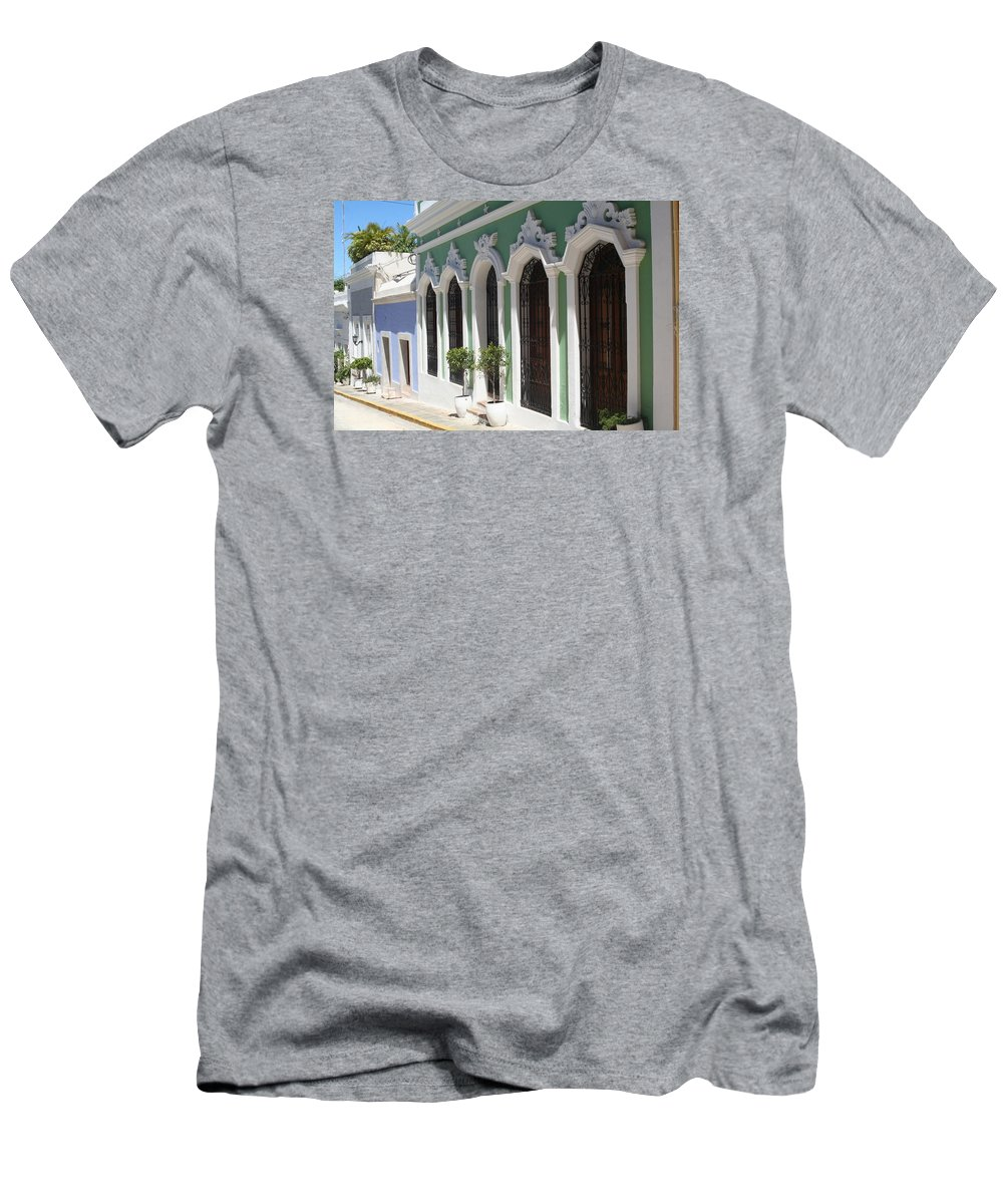 Old San Juan Men's T-Shirt (Athletic Fit) featuring the photograph Old San Juan Street by The Art of Alice Terrill