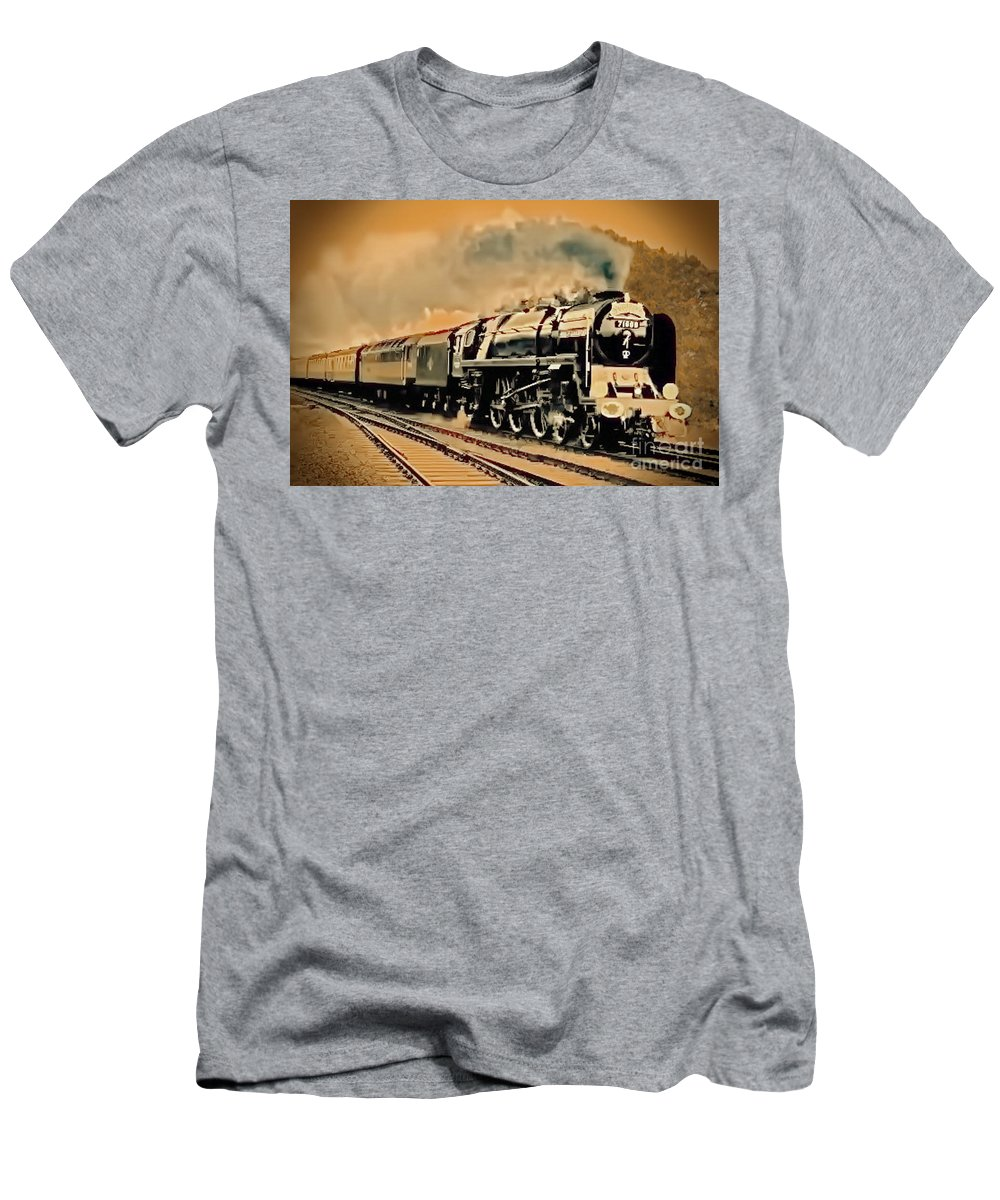 Railroad Men's T-Shirt (Athletic Fit) featuring the digital art Old Timer T by Tim Richards