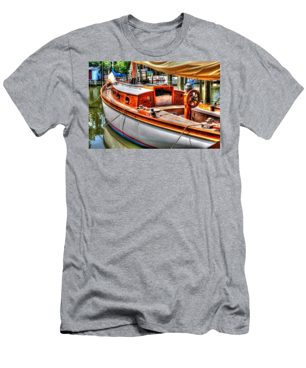 Alabama Men's T-Shirt (Athletic Fit) featuring the digital art Old Wooden Sailboat by Michael Thomas