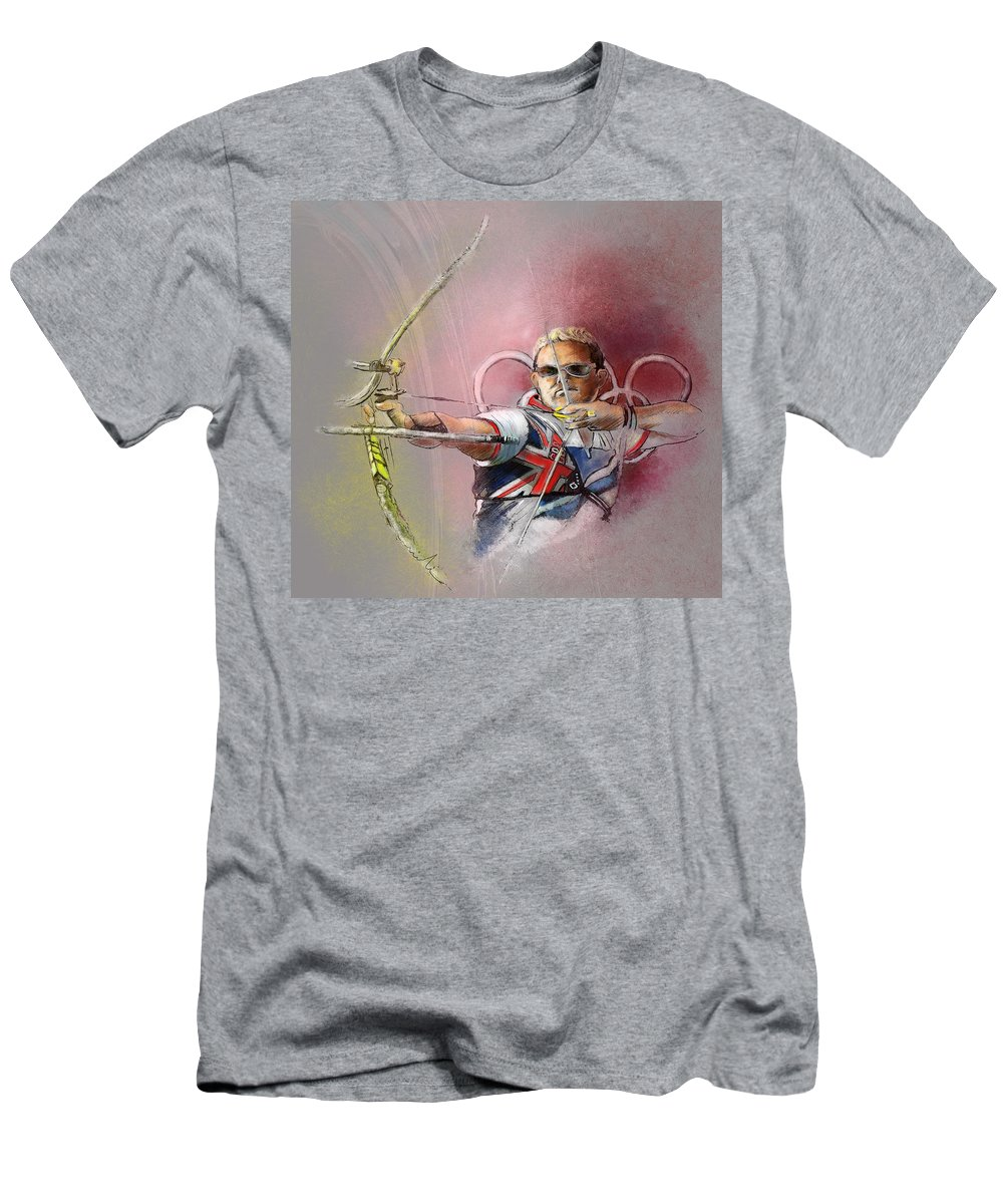 Sports Men's T-Shirt (Athletic Fit) featuring the painting Olympics Archery 01 by Miki De Goodaboom