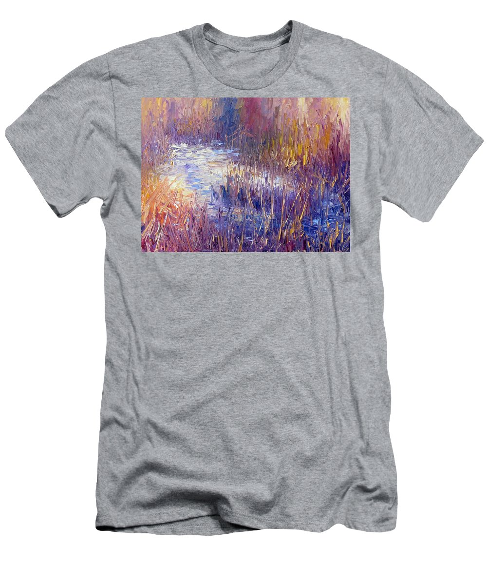 Snow Men's T-Shirt (Athletic Fit) featuring the painting On Frozen Pond by Terry Chacon