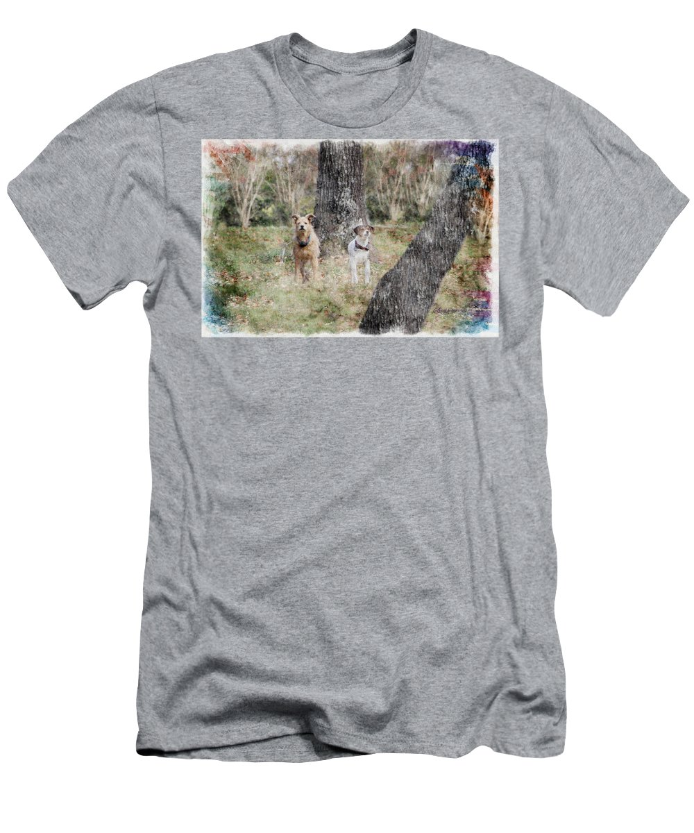 Dogs Men's T-Shirt (Athletic Fit) featuring the photograph On Guard - Featured In Comfortable Art Group by Ericamaxine Price