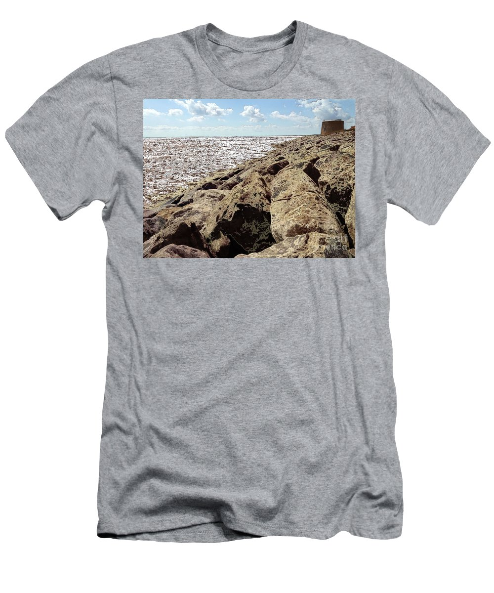 Martello Tower Men's T-Shirt (Athletic Fit) featuring the digital art On The Rocks by Chris R Kitchener
