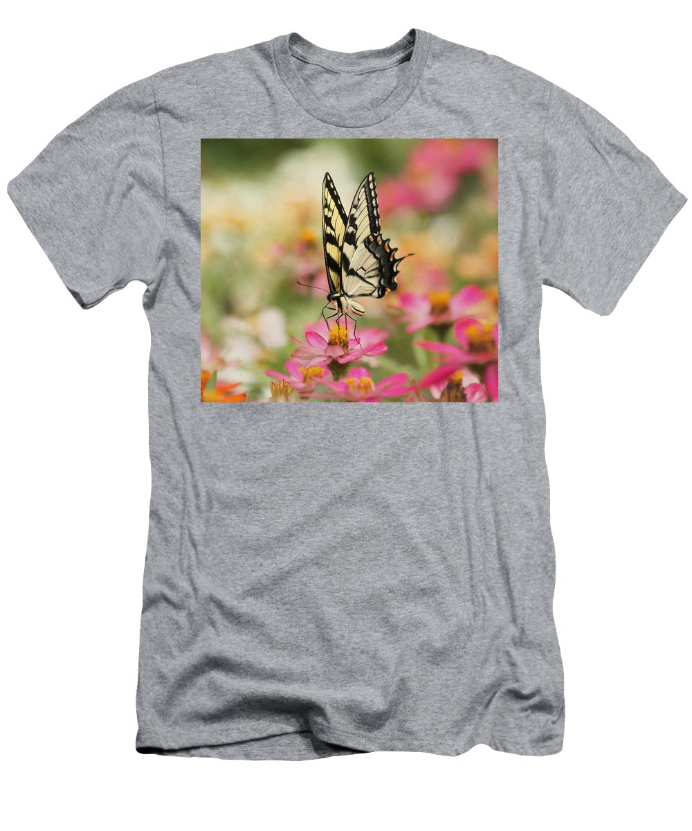 Tiger Swallowtail Butterfly Men's T-Shirt (Athletic Fit) featuring the photograph On The Top - Swallowtail Butterfly by Kim Hojnacki
