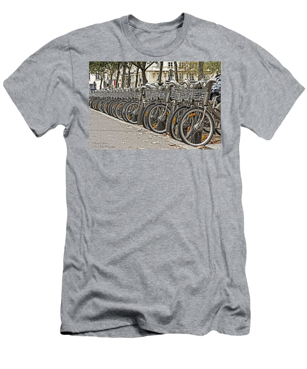Bicycles Men's T-Shirt (Athletic Fit) featuring the photograph One Fine Morning In Paris by Hany J