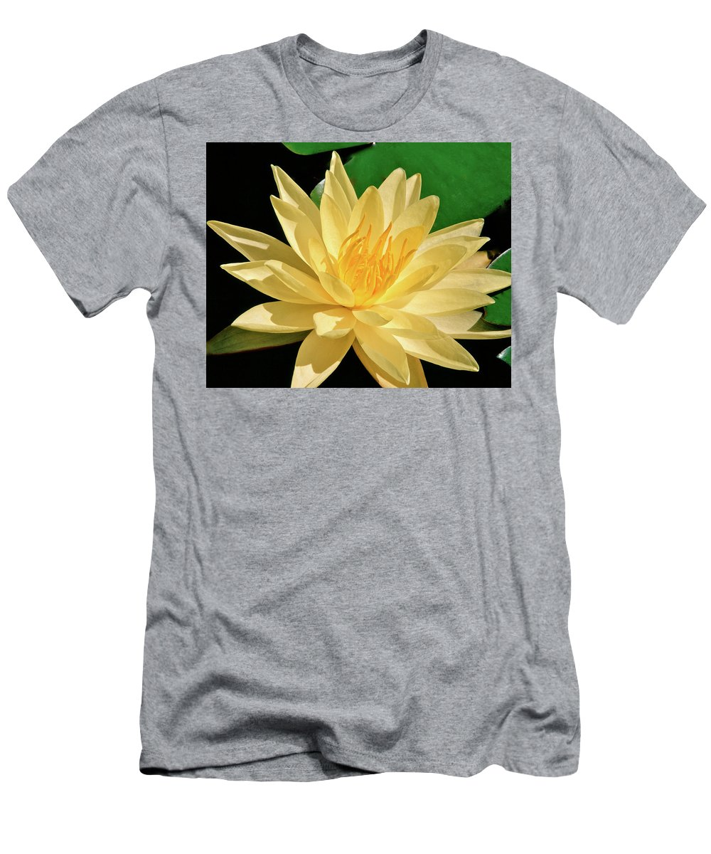 Water Lily Men's T-Shirt (Athletic Fit) featuring the photograph One Water Lily by Ed Riche