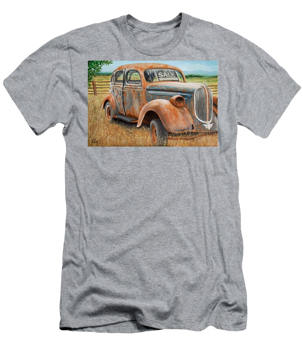 Automobile Men's T-Shirt (Athletic Fit) featuring the painting Only One Owner by Paul Bennett