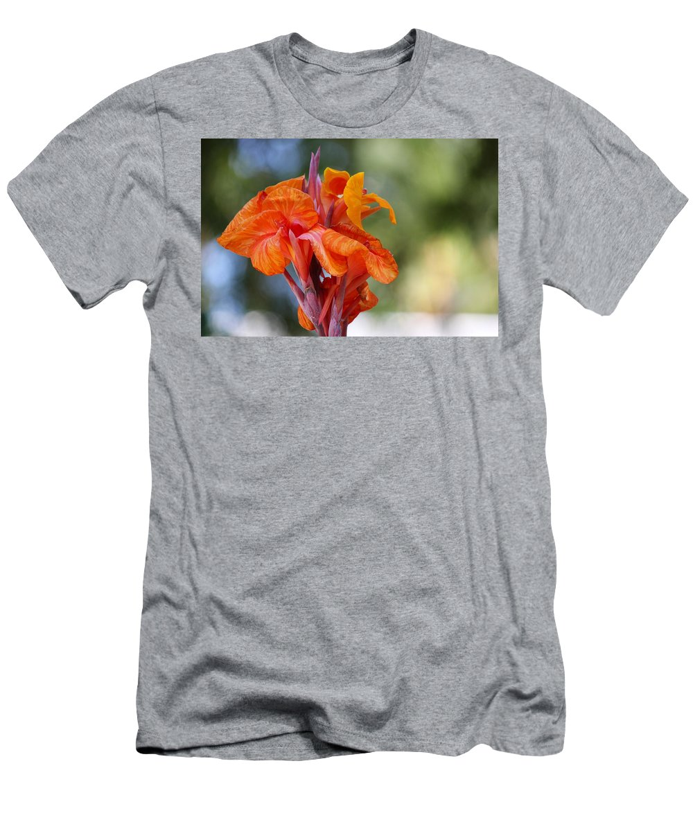 Orange Canna Lily Men's T-Shirt (Athletic Fit) featuring the photograph Orange Ruffled Beauty by Leigh Meredith