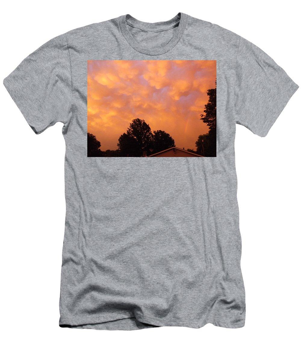 Cloud Men's T-Shirt (Athletic Fit) featuring the photograph Orange Sunset by Greg Boutz