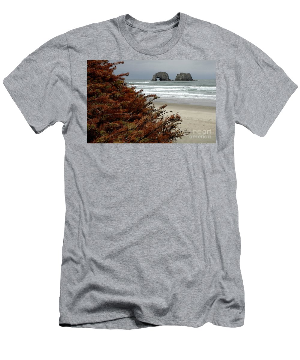 Men's T-Shirt (Athletic Fit) featuring the photograph Oregon Beach by Mike Nellums