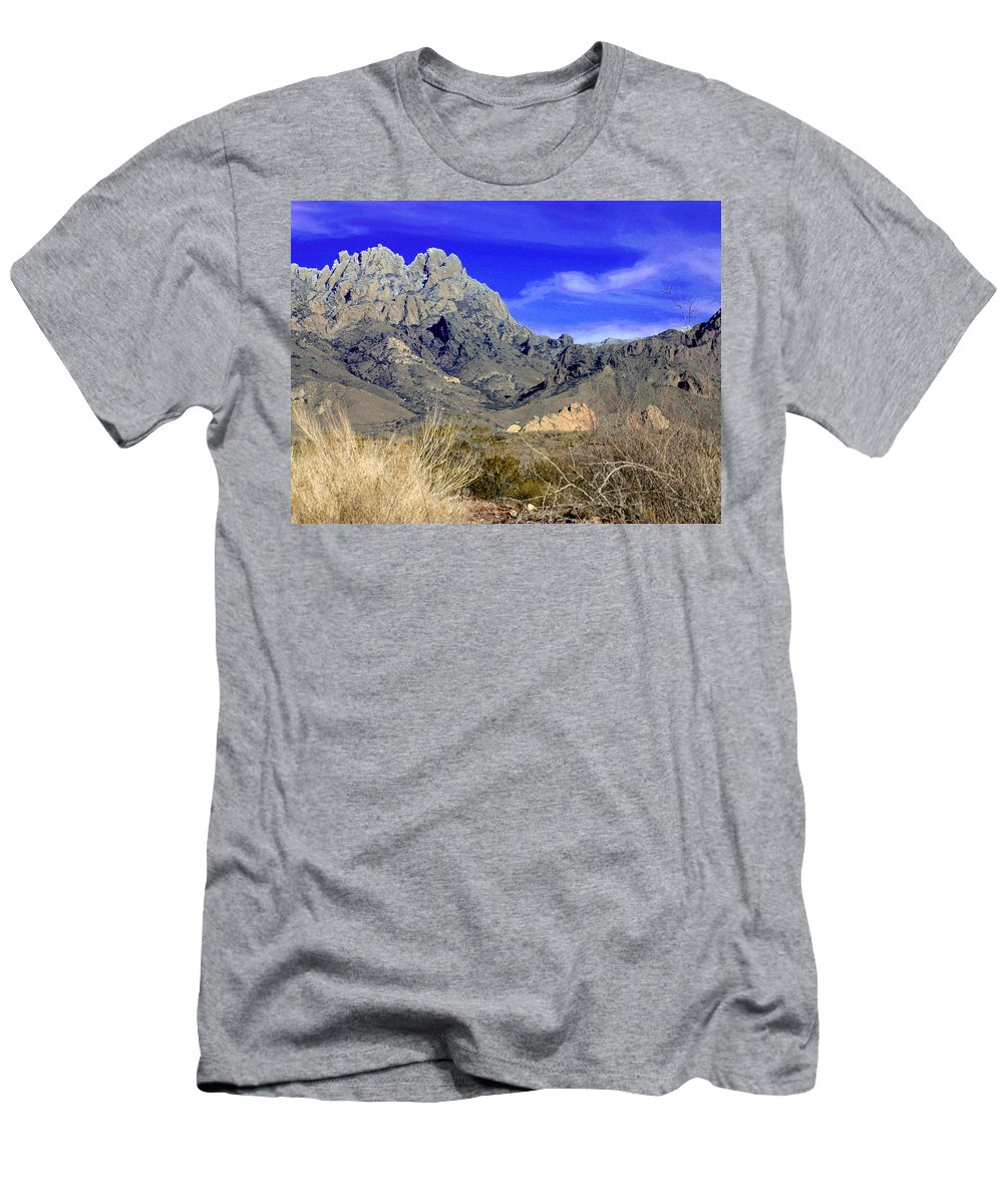 Photographic Prints Of The Organ Mountains-desert Peaks National Monument Men's T-Shirt (Athletic Fit) featuring the photograph Organ Mountain Frosty Top by Jack Pumphrey