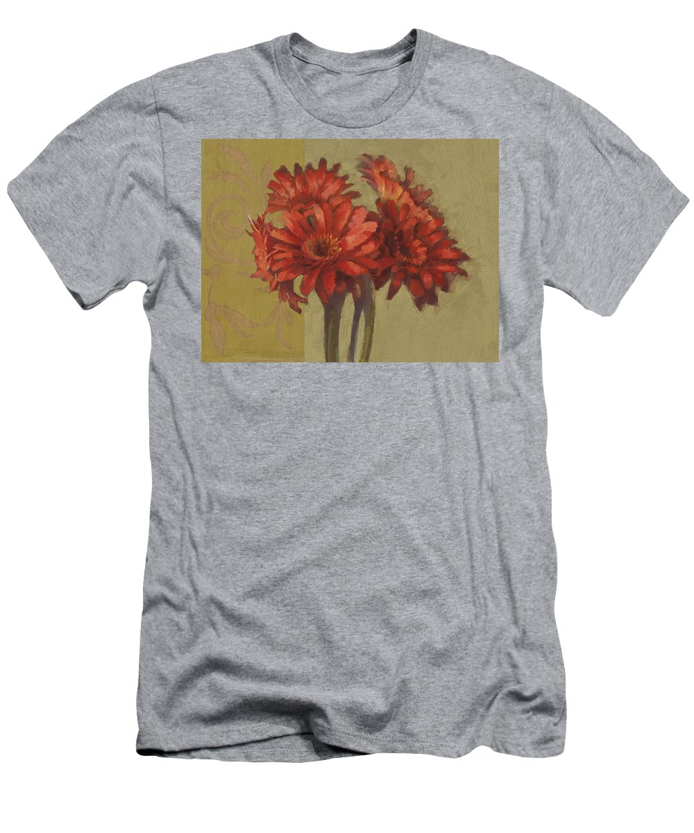 Floral Men's T-Shirt (Athletic Fit) featuring the painting Ornamental Gerbers by Cathy Locke