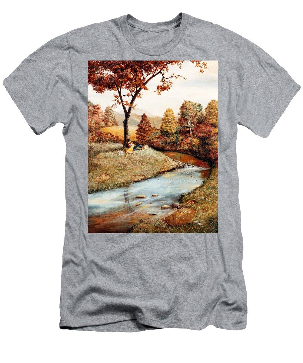 Rural Men's T-Shirt (Athletic Fit) featuring the painting Our Secret Place by Duane R Probus