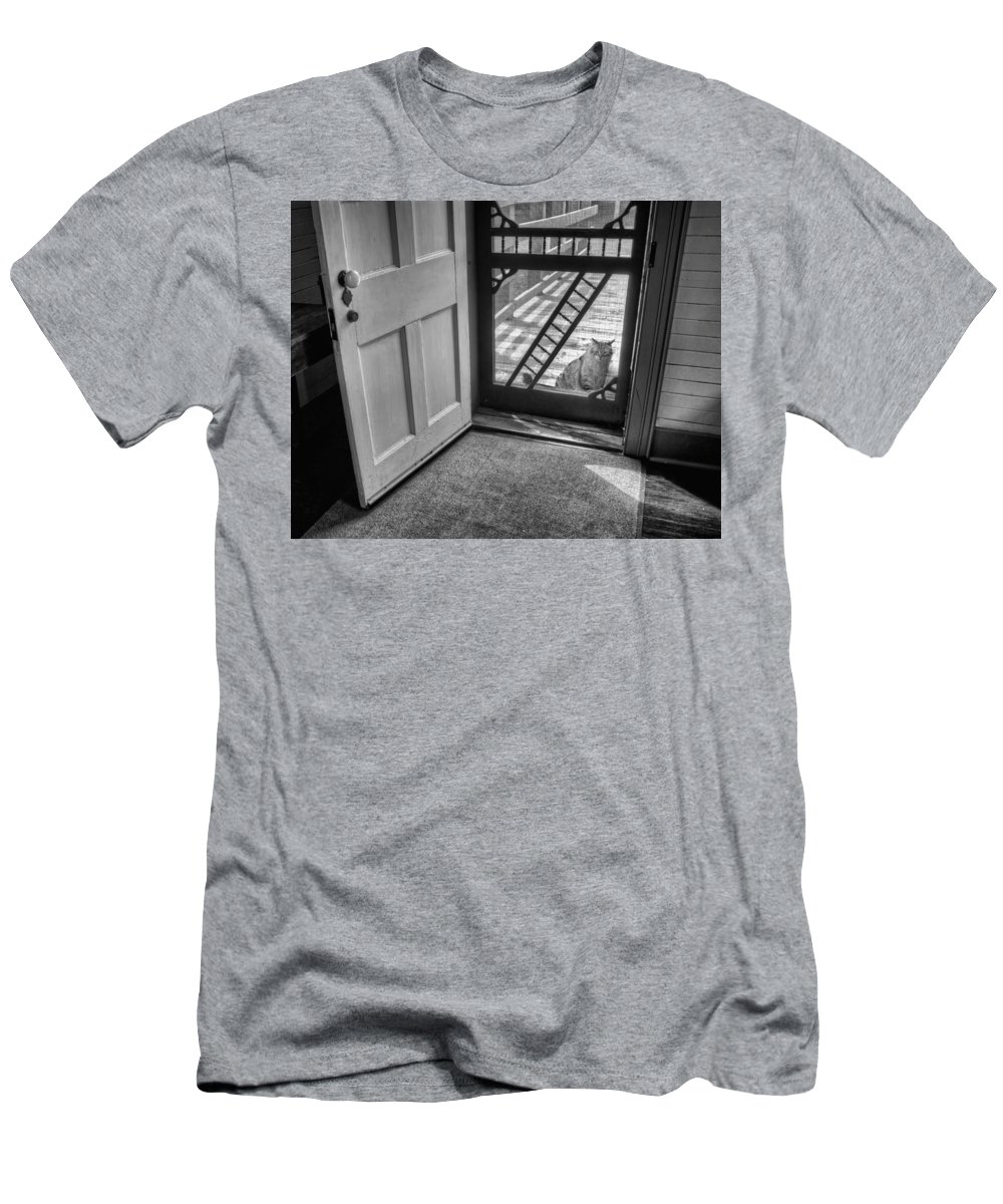 Out The Back Men's T-Shirt (Athletic Fit) featuring the photograph Out The Back by Nikolyn McDonald
