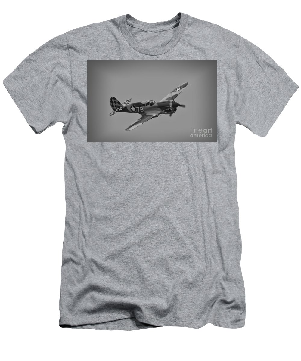 Usaaf Men's T-Shirt (Athletic Fit) featuring the photograph P-40 Warhawk Bw by Tommy Anderson